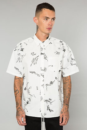 White Scribble Button Up