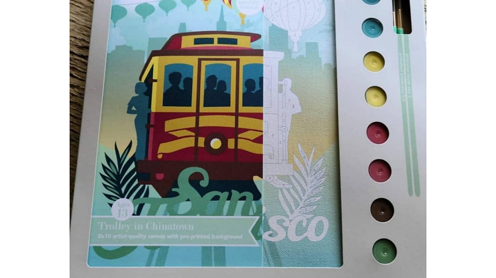 San Francisco cable car paint by number