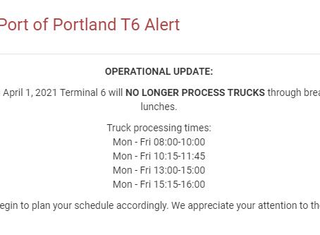 T6 Portland New Break Schedule 4/7/21