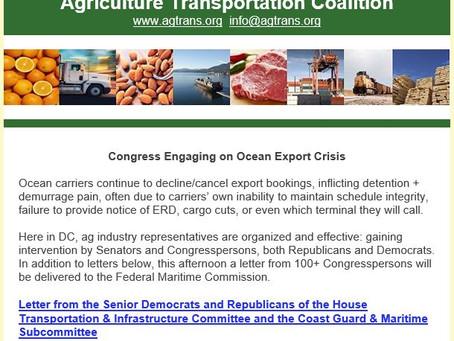 AgTC: Congress Engaging on Ocean Export Crisis