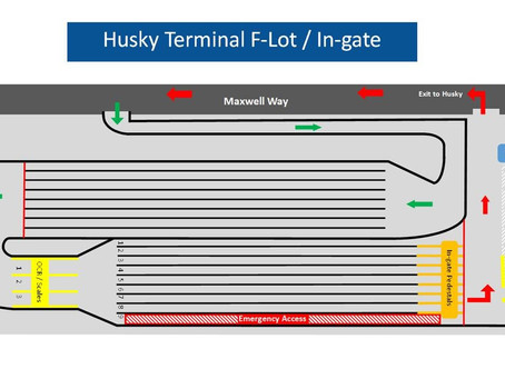 Husky Terminal Gate Notice - Lot F Gate will go Live Monday 11/16