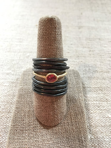 Ring 10 K, aquamarine, one of a kind, slightly adjustable