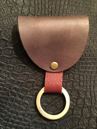 Porte clé cuir marron