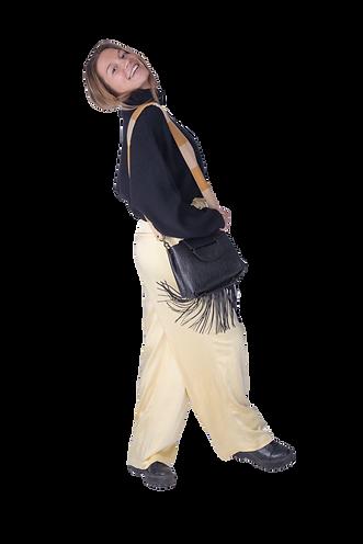 Sac a main en cuir noir imprimé croco avec bandoulière de Makassar Bags, collection Incredible Leather