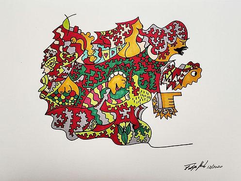 Crazy World #4   Desenho sobre papel   Arte única