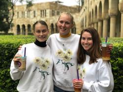 Zoe, Bri and Robin dressed in daisy