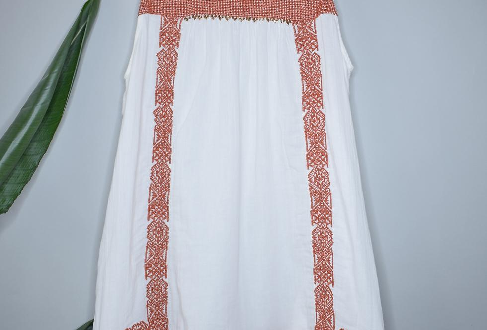 Hinge Gauze Embroidered Tunic Dress M