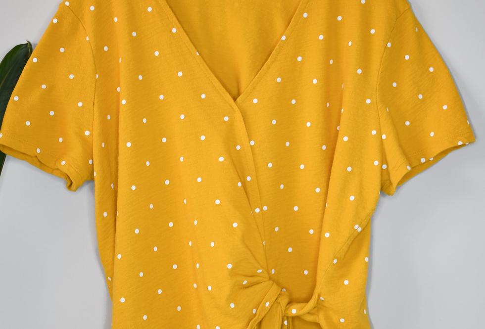 Old Navy Yellow Polka Dot Wrap Tee XL