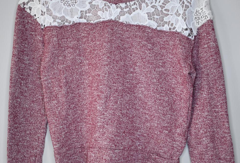Papaya Marled Maroon Cropped Sweatshirt M