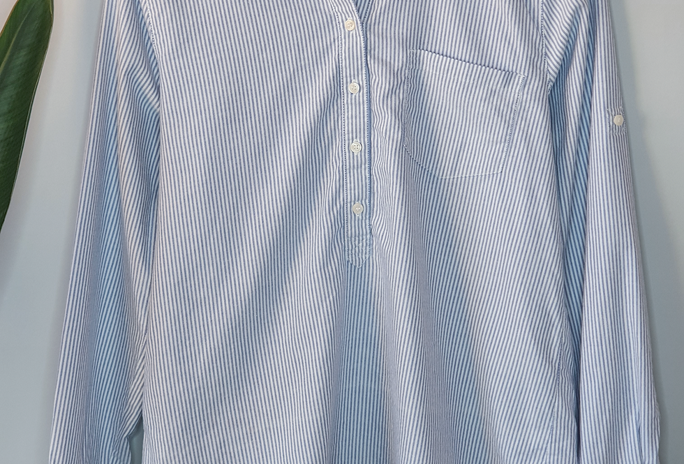 J.Crew Factory Striped Blue Popover Shirt M