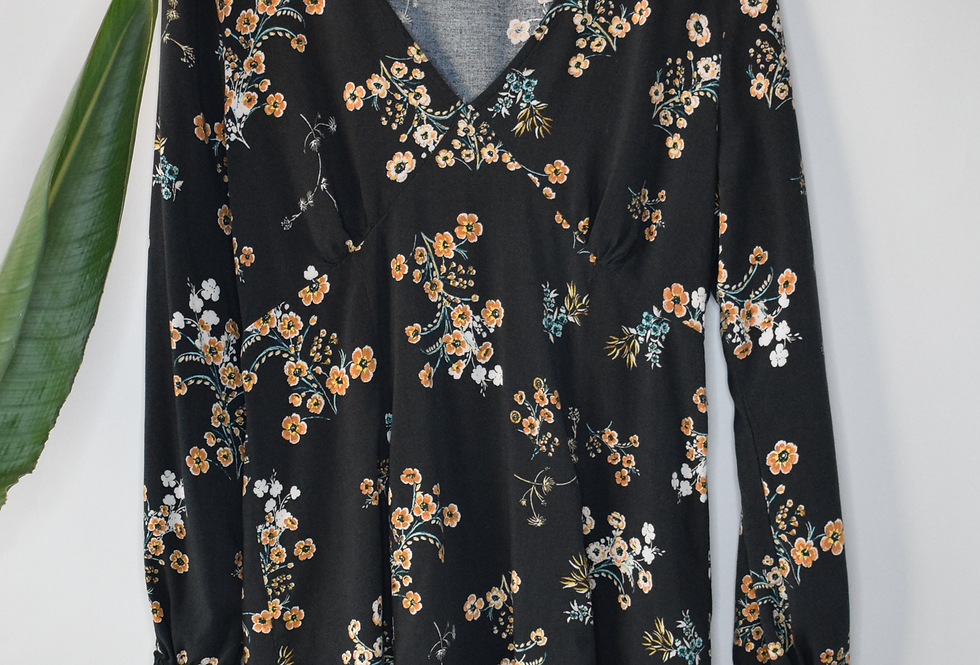 Wild Fable Floral Black Dress XL