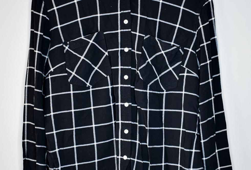 Merona Black Windowpane Shirt XL