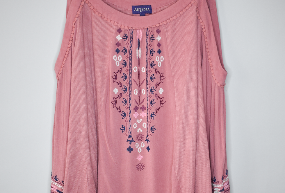 Artesia Embroidered Waffle Knit Blouse XL