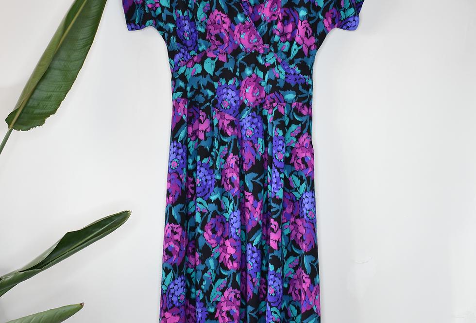 Floral Vintage Midi Dress S