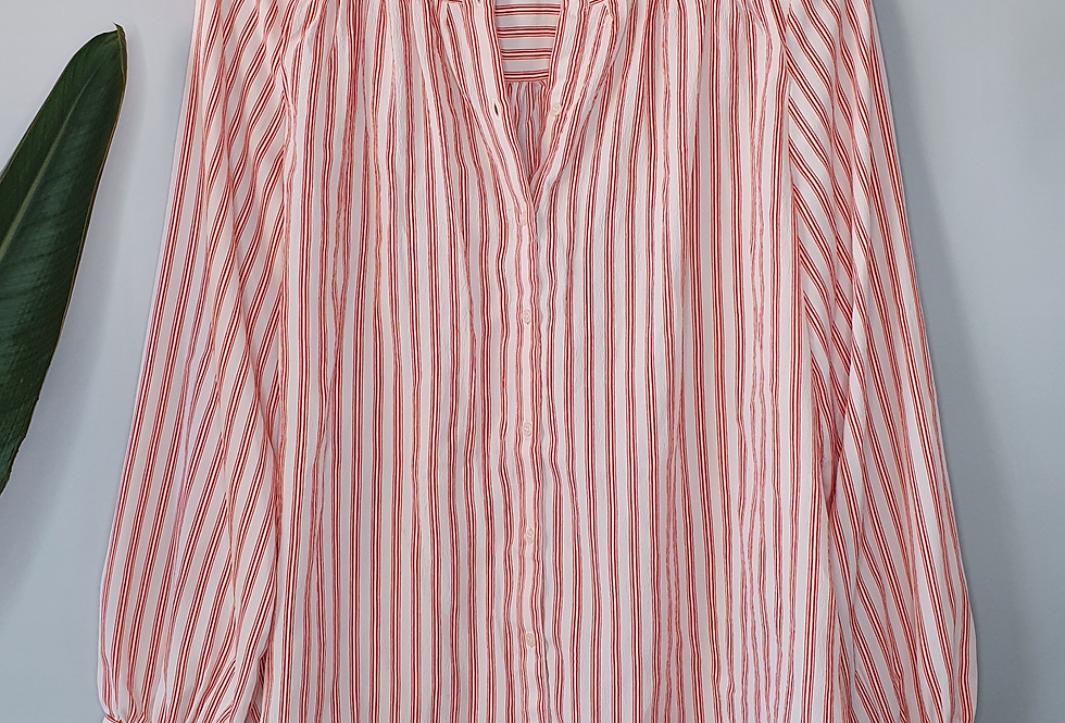 H&M Striped Collarless Button Down S
