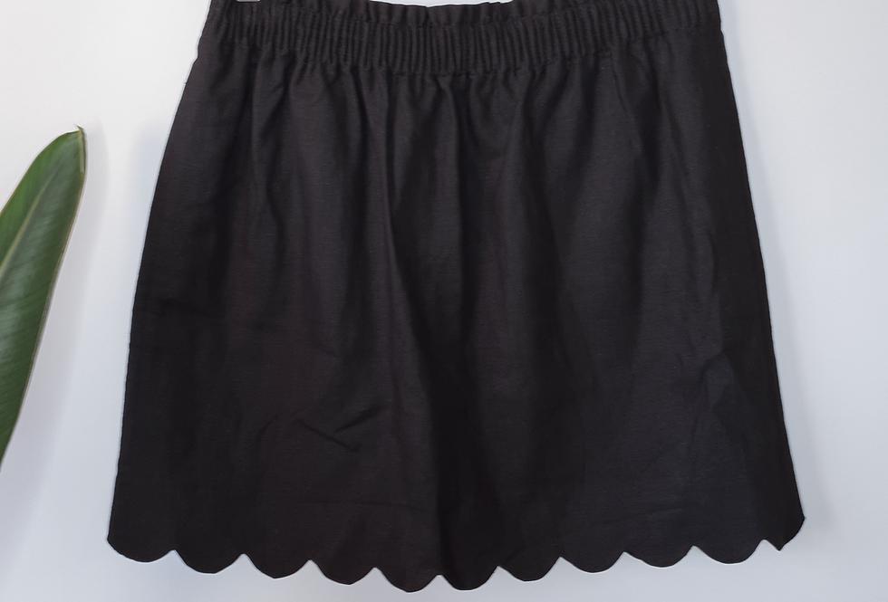 J. Crew Black Linen Scalloped Skirt 10
