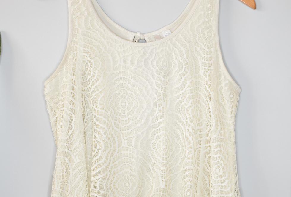 Lauren Conrad Crochet Cream Tank Top M