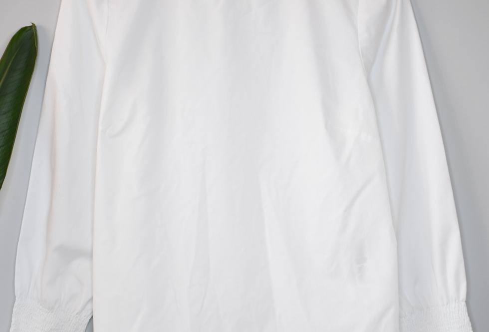 Chico's No-Iron White Shirred Sleeve Blouse S
