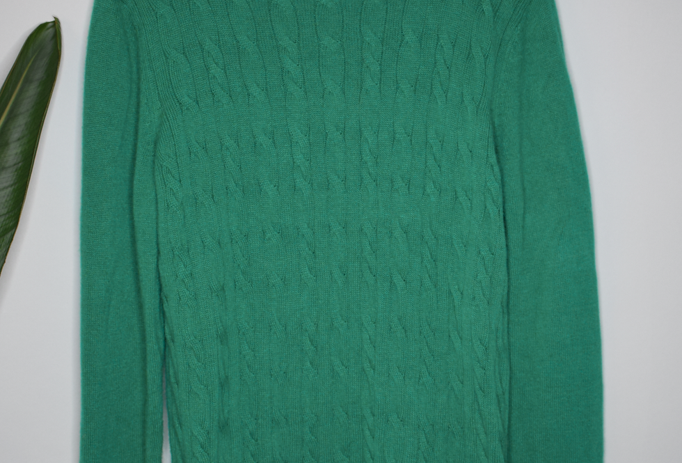 Talbots Green Cable Knit Sweater XL