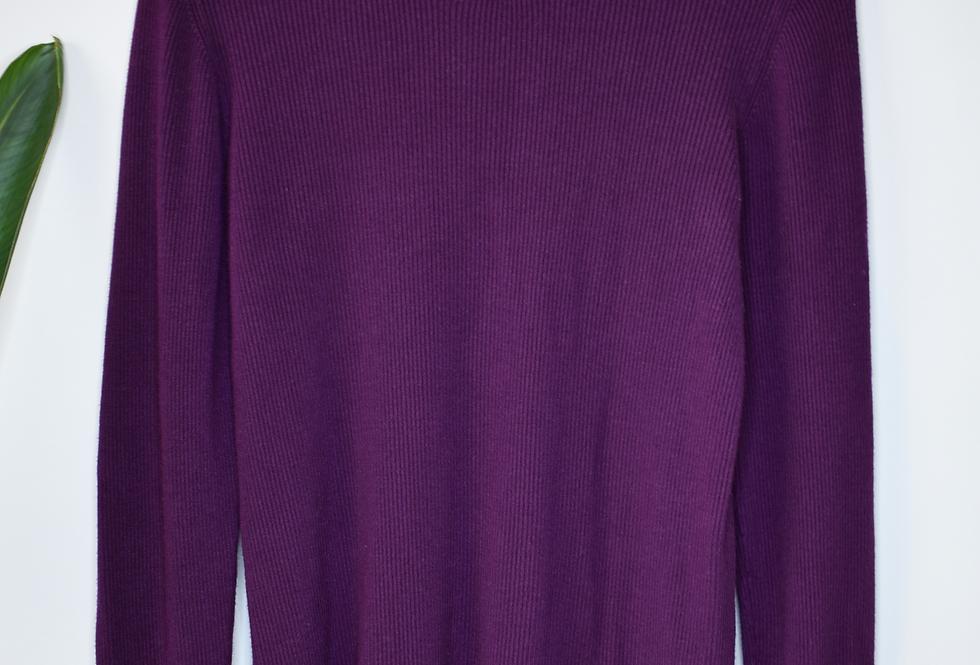 Ann Taylor Factory Purple Ruffle Cuff Pullover L