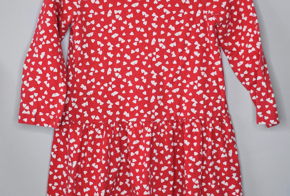 GAP Red Heart Print Dress 4Y