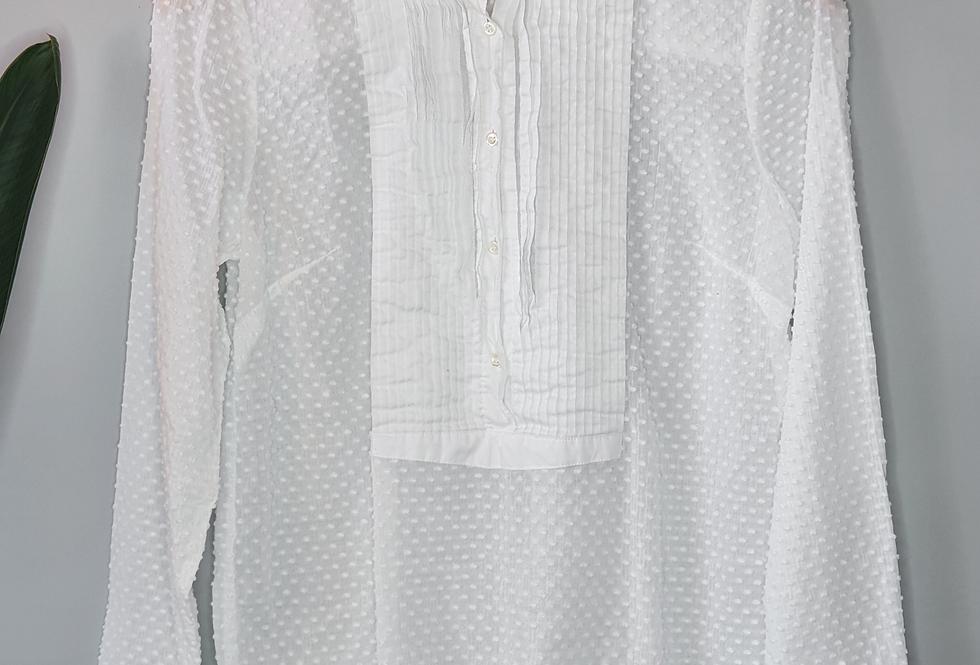 J. Crew White Swiss Dot Button Up Shirt 4
