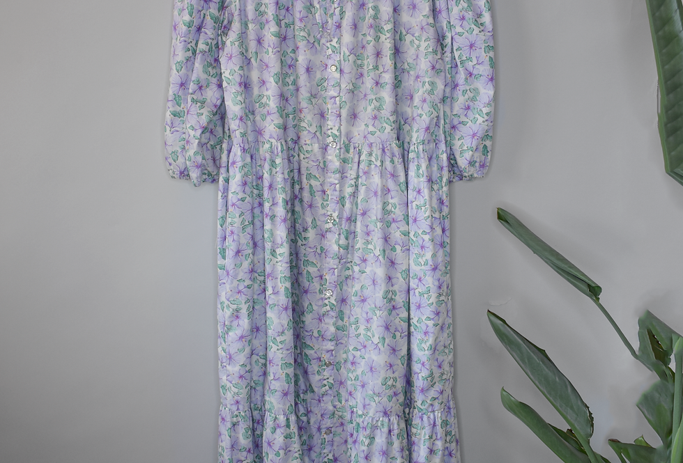 Vintage Floral Tiered Maxi Dress 1X