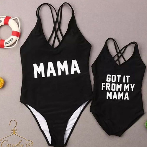 """"""" Got it from my mama """" mommy and me bathing suit"""