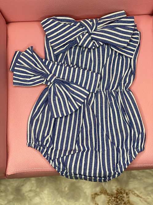 Baby Girl Jumpsuit Romper + Headband Outfit