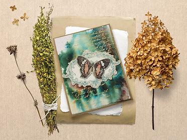 Сцена с хербарий и картичка с пеперудка