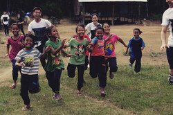 Volunteers with the children