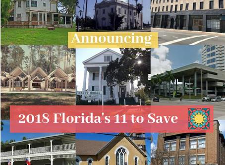 Florida Trust Announces the 2018 Florida's 11 to Save