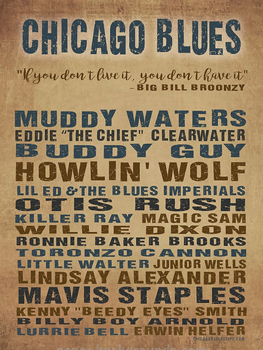 """18"""" x 24"""" Chicago Blues Musicians Poster"""