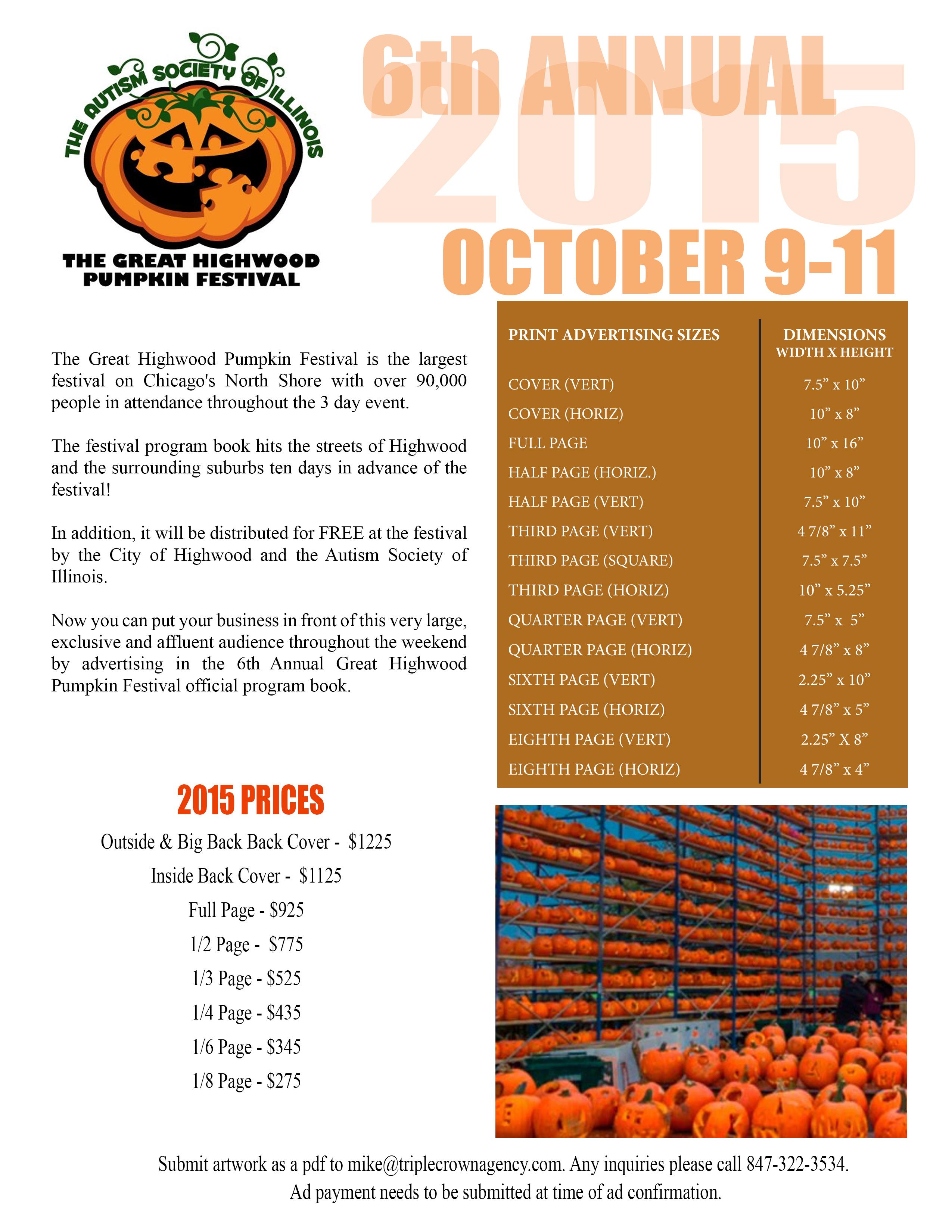 Highwood Pumpkin Festival Advertising Rates