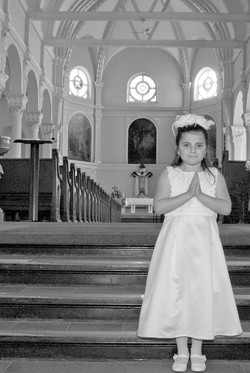 Praying Hands in Church Black and White