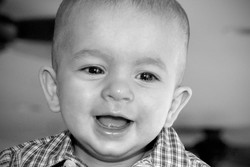 Baby Smiling Black White