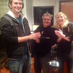 Recording session with assitant engineer Brandon Miller, percussionist Alejo Poveda and Laury.