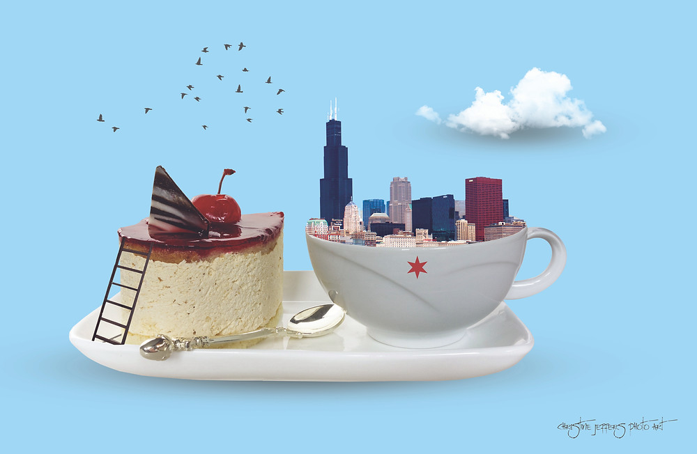 Surreal Chicago in a Coffee Cup 17 x 11 Poster