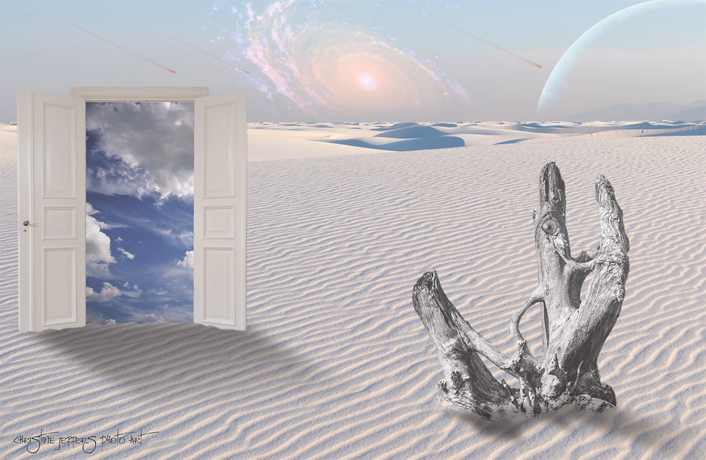 A Surreal Desert Scene with a Door Leading to Clouds and Planets in the Sky