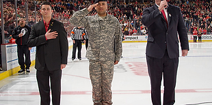 Jim Cornelison singing the National Anthem at the Chicago Blackhawks Game