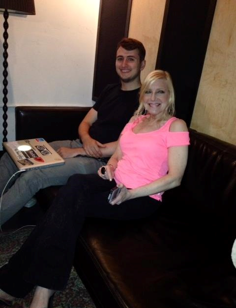 "Assistant engineer Brandon Mille and Laury during a session for her recording ""Time is a Healer"""