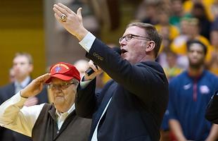 Jim Cornelison singing the national anthem at the Kansas Jayhawks Basketball game
