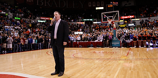 Jim Cornelison singing the national anthem at the Indiana University basketball game