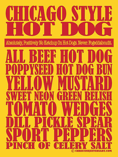 """18"""" x 24"""" Chicago Style Hot Dogs"""