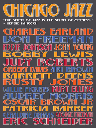 "18"" x 24"" Chicago Jazz Musicians Poster"