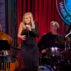 Performing at the Jazz Showcase, Bob Rummage on drums.