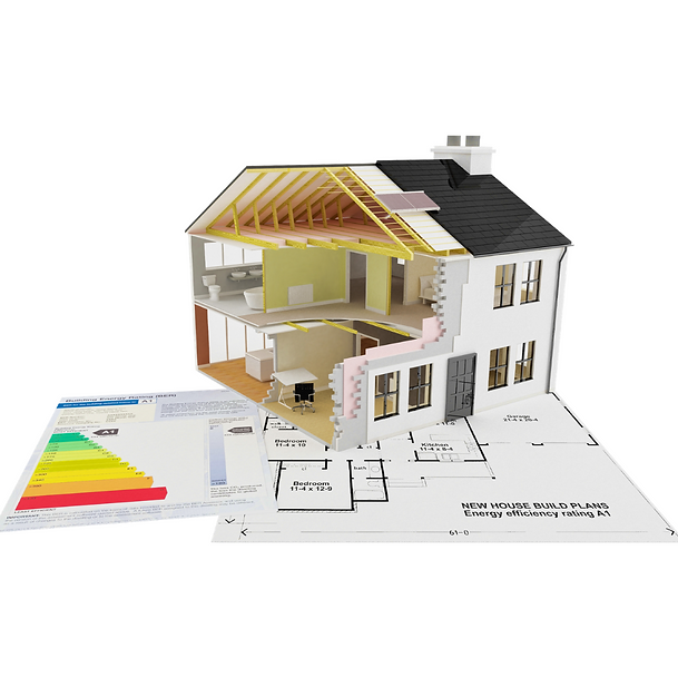 The blueprint of an energy efficient home showing insulation in the attic and walls