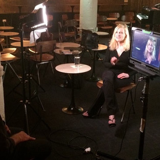 Laury with David Marienthal during an interview for Davids upcoming documentary on the legendary club Mister Kelly's.