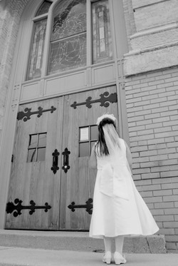 Outside the Church Black and White