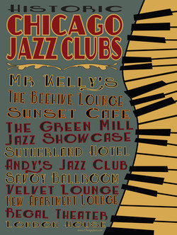 """18"""" x 24"""" Chicago Jazz Clubs Poster"""